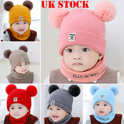 UK Kids Baby Boys Hat With Scarf Knitted Autumn Winter Cap with Scarf Tie up Set