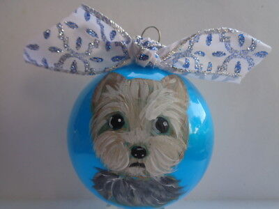 HAND PAINTED ART~~YORKIE YORKSHIRE Terrier BLUE CHRISTMAS BALL ORNAMENT~~