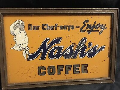 Vintage Nash's Coffee Sign. Painted On Glass.