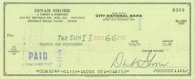 Dinah Shore Signed Check with Free Photo