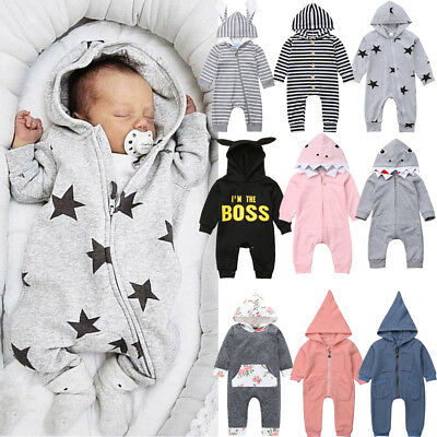 Autumn Winter Infant Baby Boy Girl Cotton Hooded Romper Jumpsuit Clothes Outfits