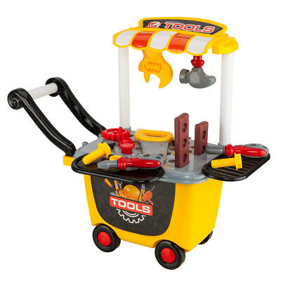 Toddler Boy Toy Tool Set Storage Trolley Pretend Play Kid Drill Learning Game