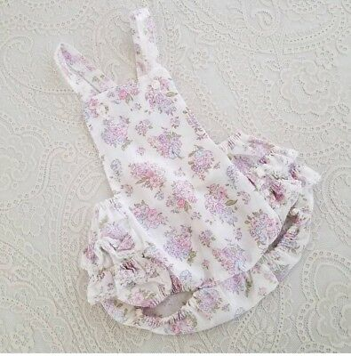 Vintage Baby Girl Floral Ruffle Butt Romper Childrens Clothes
