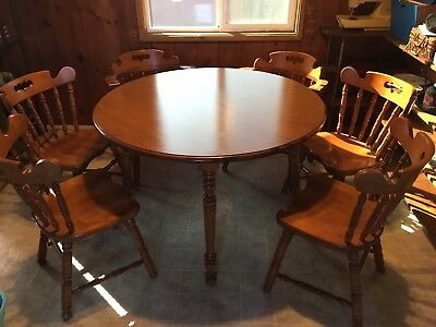 """11 piece Antique Tell City Maple Dining table set for 6 extends to 7'8"""" long"""