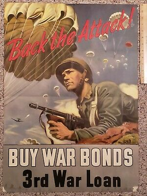 Original WW2 Poster BACK THE ATTACK WAR BONDS Official US Treasury 3RD War Loan