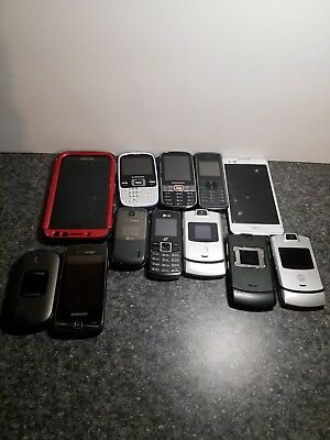 Lot Of 12 Cell Phones For Parts Repair Samsung Motorola LG