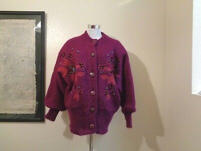 80s CRESCENT BAY PLUM THICK WOOL APPLIQUED & BEADED FLORAL DETAIL SWEATER JACKET