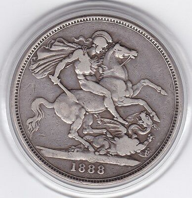 Sharp  1888   Queen  Victoria Large Crown / Five Shilling Silver British  Coin