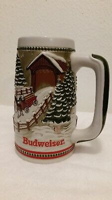 Limited Edition 1984 Budweiser Clydesdales Covered Bridge Christmas Stein