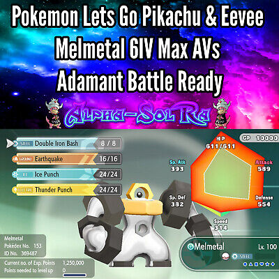 Pokemon Let's Go Pikachu & Eevee - Melmetal 6IV Max AVs Battle Ready 🔥