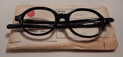 Vintage Imperial Optical Oval Black 48/20 Eyeglass Frame New Old Stock