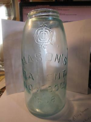 Vintage 1/2 Half Gallon Light Blue Ball Mason's-Patent 1858 Glass Atlas Old