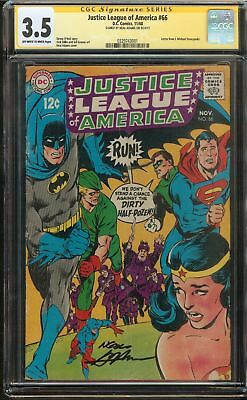 Justice League of America #66 CGC 3.5 VG- JLA SIGNED BY NEAL ADAMS DC Comics