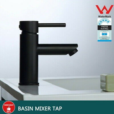 Watermark Wels Bathroom Basin Mixer Tap Round Vanity Brass Faucet Matte Black