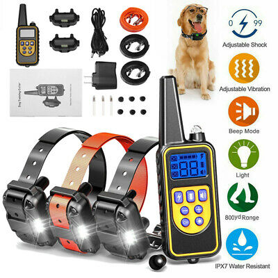 Rechargeable Dog Shock Training Collar Electric Remote Waterproof for 1/2/3 Dogs