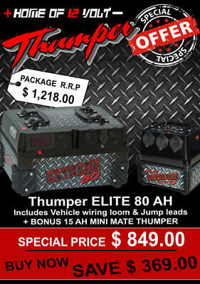 Thumper ELITE 80AH Battery Pack 12 Volt Deep cycle + BONUS 15 AH Mini Mate w USB