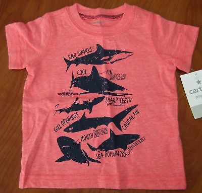 New Carters Baby Boys Playwear Rad Sharks T-Shirt Sz 6M 12M