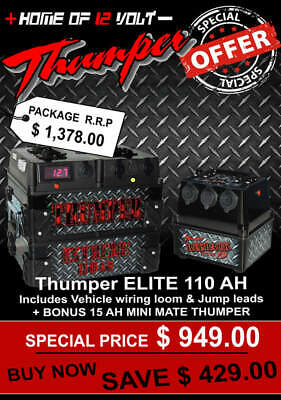 Thumper ELITE 110AH Battery Pack + Bonus 15 AH - Dual Battery system 4wd 4x4 ute