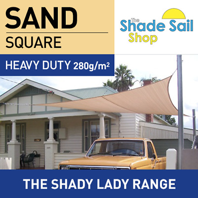 Shade Sail Square 3.6x3.6m m SAND 280gsm Super strong Corners 3.6 x 3.6 m