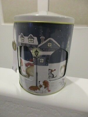 Basset Hound Musical Cookie Canister - Christmas Holiday PARK AVENUE Pups Dog