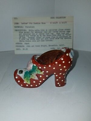 Antique Porcelain Hand Painted Pin Cushion Shoe Japan #353
