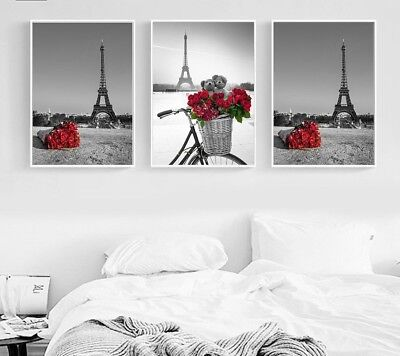 Posters And Prints Wall Art Canvas Eiffel Tower Roses Painting Modern Home Decor