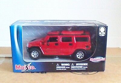 Maisto Power Racer Red Hummer H2 Scale Motorized Die Cast Metal