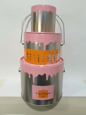 Veuve Clicquot Champagne Rose 200th Birthday Cake Ice Bucket! Limited Edition!