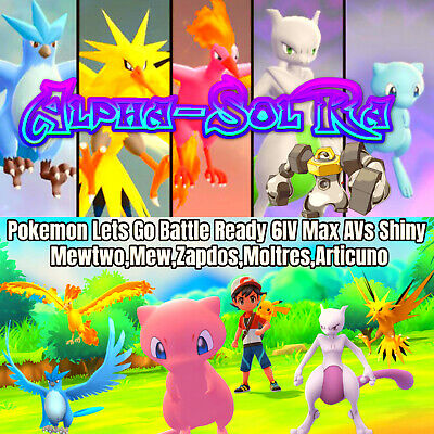 Mewtwo Mew Pokemon Lets Go Pikachu Eevee All x5 Shiny Legendary Pokemon 6IV AV🔥