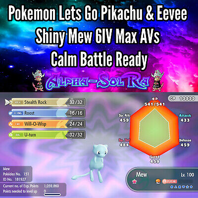 Pokemon Lets Go Pikachu & Eevee Shiny Mew 6IV Max AVs Calm Battle Ready