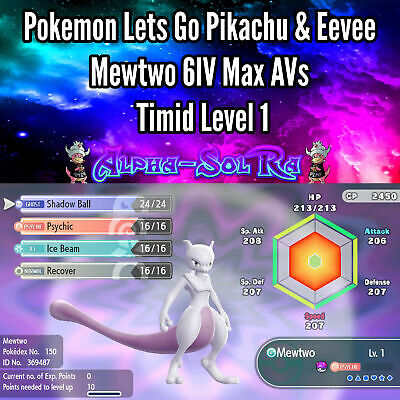 Pokemon Lets Go Pikachu & Eevee - Mewtwo 6IV Max AVs Timid Level 1