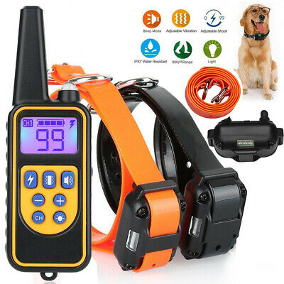 880 Yard Large Dog Electric Shock Pet Training Collar Waterproof With LCD Remote