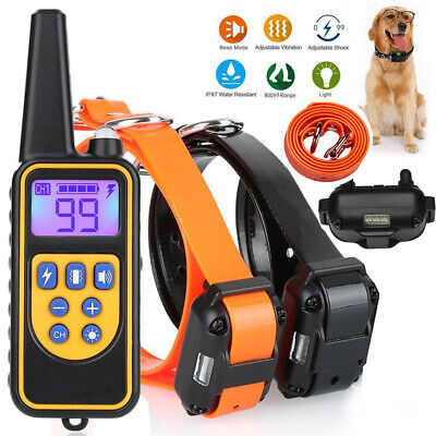 Waterproof Electric Dog Large 880 Yard Pet Shock Training Collar With LCD Remote