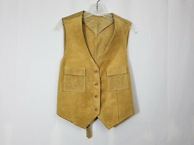 Mens Real Suede Leather Vest WESTERN STYLE made in Argentina Tan VEST
