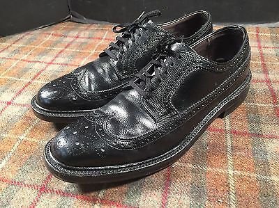 Hanover LB Sheppard Signatures USA Made Vintage Black Wing Tip Dress Shoes 10.5