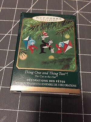 HALLMARK KEEPSAKE ORNAMENT THING ONE & THING TWO! DR SEUSS 2001 Cat In Hat NRFB