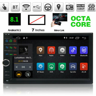 """7"""" Double 2 Din Android 8.1 GPS Car Radio Octa Core Stereo 2Cam BT Wifi 4G DAB+"""