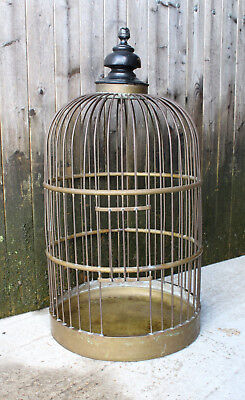 Large antique French Brass Birdcage W/ Ebonised Turned Top-Late 19th century