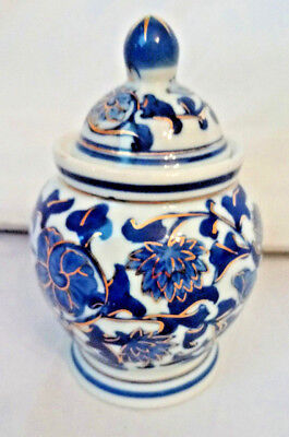 Beautiful Vintage Blue and White Jar with Lid / Pot / Ginger Jar, Gold Accents