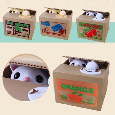 Cat Automatic Stealing Coin Cat Coins Penny Cents Piggy Bank Saving Box Kids