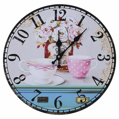 Vintage Antique Style 34cm Wall Clock Home Bedroom Retro Kitchen Quartz (Pa Z2U4