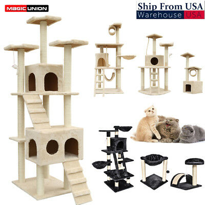 Kittens Cat Tree House Plush Perches and Condo Scratching Post Tower Furniture