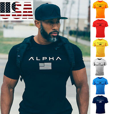 ALPHA Men's Gym T-shirt Muscular Fitness Bodybuilding Outdoor Jogging 7 Colors