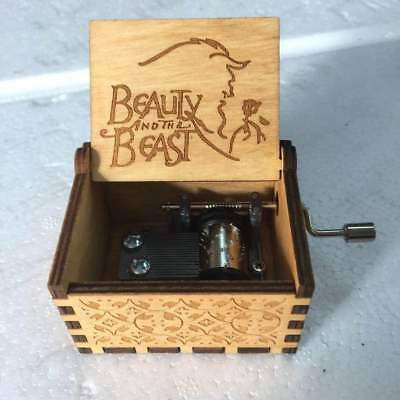 Wooden Music Box  Beauty and the Beast Engraved Toys Xmas Gift