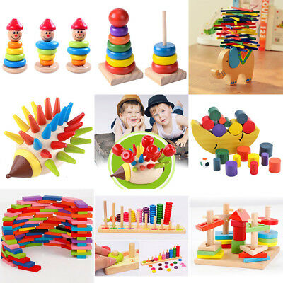 Baby Toddler Montessori Toys Wood Tetris Puzzle Stacking Blocks Kids Wooden Toys
