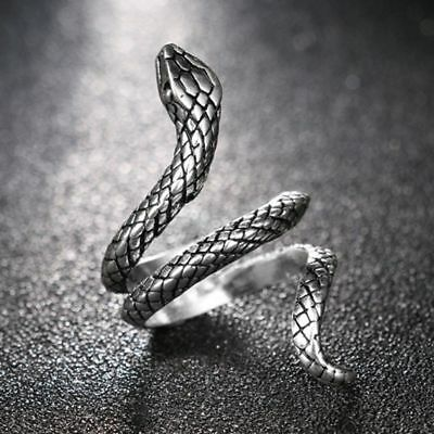 Unisex Rock Vintage Heavy Metal Punk Rings Jewelry Silver Plated Snake Shape