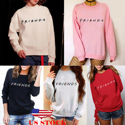 US Womens FRIENDS Print Hoody Sweatshirt Slouch Pullover Sweater Jumper Tops