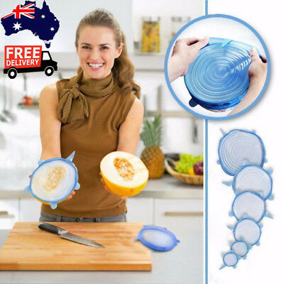 6*Silicone Lids Reusable Food Save Cover Heat Resisting Eco-Friendly