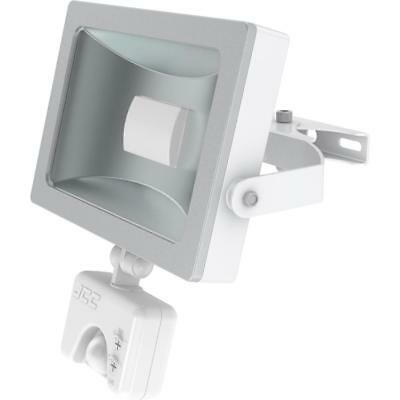 Niteflood LED Mains IP44 Flood 15W 5700K Beam + PIR White/Silver