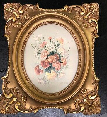 Vintage/antique Gold Picture Frame 1416 Glay Oval With Picture